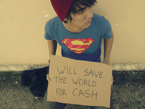 homeless, superman, cardboard sign, save the world