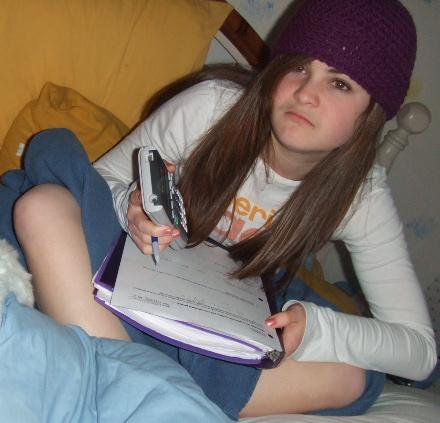 girl studying math homework